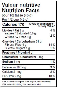 Nutritional Facts - Organic Oat Flakes