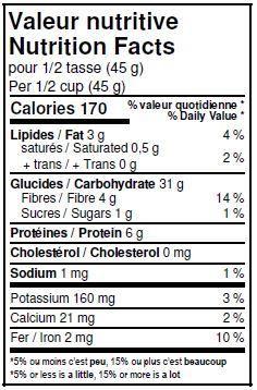 Valeurs nutritives - Flocons d'avoine réguliers biologiques