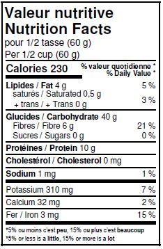 Nutritional Facts - Organic Whole Oat Flour