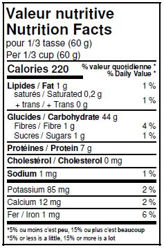 Nutritional Facts - Organic Unbleached White Pastry Flour