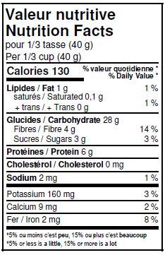 Valeurs nutritives - Flocons de Khorasan biologique