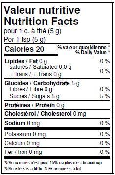 Valeurs nutritives - Sucre de canne blond biologique