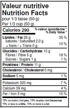 Valeurs nutritives - Graines de tournesol décortiquéees biologiques