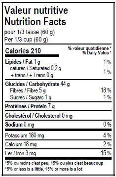 Valeurs nutritives - Farine de blé entier à pain biologique