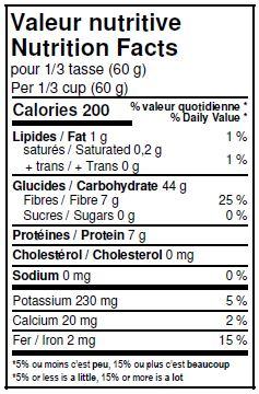 Valeurs nutritives - Farine de blé entier à pâtisserie biologique