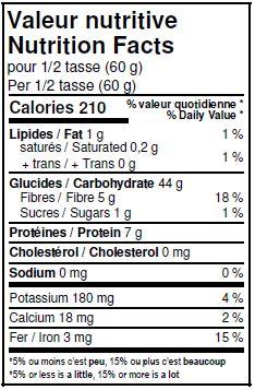 Valeurs nutritives - Farine d'épeautre entière biologique