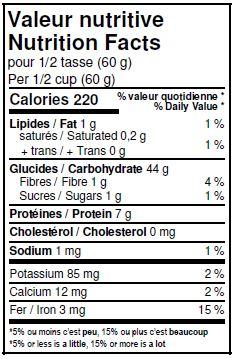 Valeurs nutritives - Farine d'épeautre blanche non blanchie biologique
