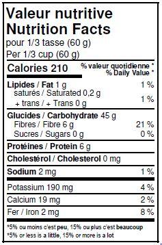 Valeurs nutritives - Farine d'orge entière biologique
