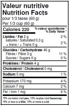 Valeurs nutritives - Farine de riz brun entière biologique