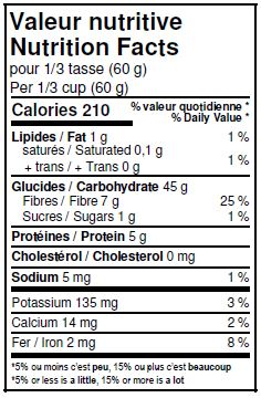 Nutritional Facts - Organic Whole Rye Flour