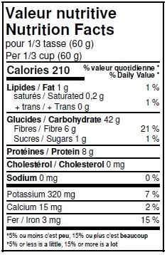 Nutritional Facts - Organic Whole Khorasan Flour
