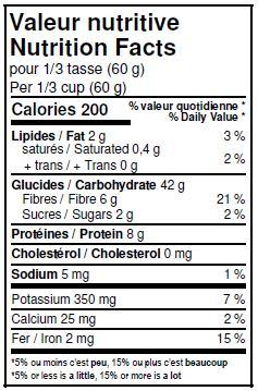 Valeurs nutritives - Farine de sarrasin entière biologique