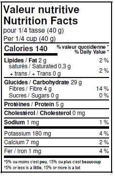 Valeurs nutritives - Crème de sarrasin biologique