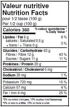 Valeurs nutritives - Pois chiches biologiques