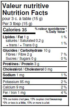 Nutritional Facts - Organic Oat Bran