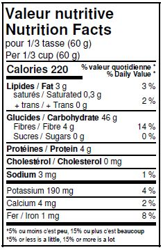 Nutritional Facts - Organic Whole Corn Flour