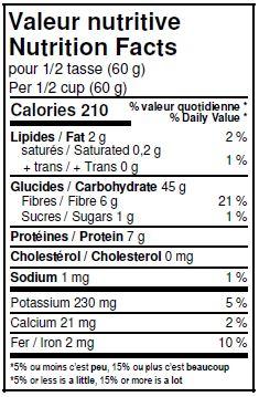 Valeurs nutritives - Farine six grains entiers biologique