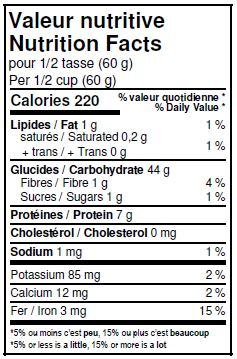 Nutritional Facts - Organic All Purpose Unbleached White Flour