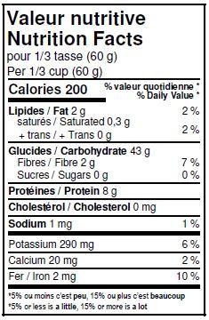 Valeurs nutritives - Semoule de blé durum biologique