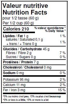 Nutritional Facts - Organic Unbleached White Red Fife Flour