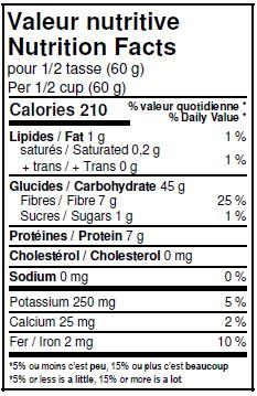 Valeurs nutritives - Farine Red Fife entière biologique