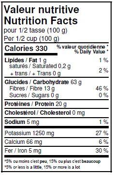 Valeurs nutritives - Fèves adzuki biologiques