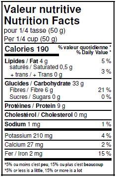 Valeurs nutritives - Amandes avoine concassées biologiques