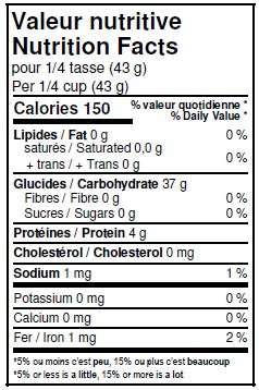 Valeurs nutritives - Riz basmati blanc biologique