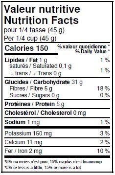 Valeurs nutritives - Blé dur biologique