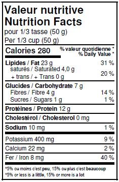 Nutritional Facts - Organic Pumpkin Seeds