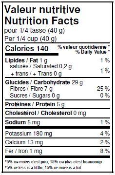 Valeurs nutritives - Crème d'orge biologique