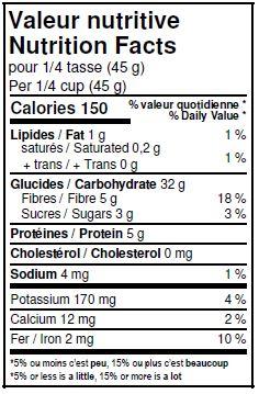 Valeurs nutritives - Épeautre biologique