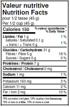 Nutritional Facts - Organic Wheat Flakes