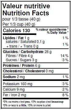 Nutritional Facts - Organic Spelt Flakes