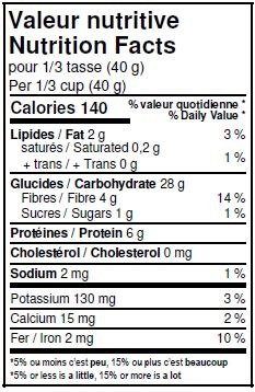 Nutritional Facts - Organic Multigrain Flakes