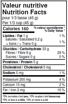 Nutritional Facts - Organic Barley Flakes