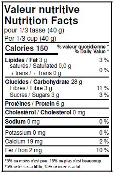 Nutritional Facts - Organic Rye Flakes