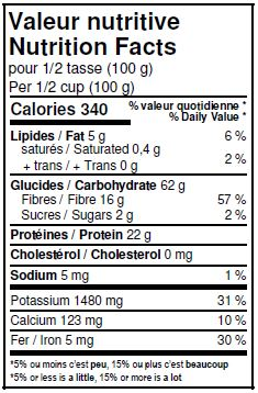 Nutritional Facts - Organic Black Beans
