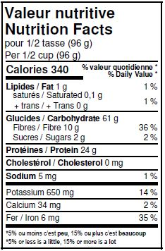 Nutritional Facts - Organic Brown Lentils
