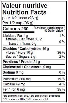 Valeurs nutritives - Lentilles vertes biologiques