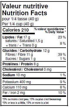 Valeurs nutritives - Graines de lin doré biologiques