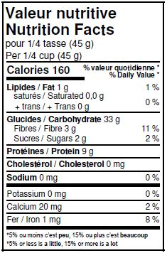 Valeurs nutritives - Millet décortiqué biologique