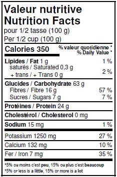 Valeurs nutritives - Fèves Mung biologiques