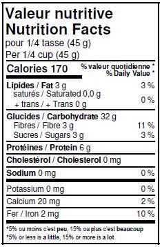 Valeurs nutritives - Quinoa blanc biologique