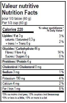 Valeurs nutritives - Semoule de maïs entière biologique