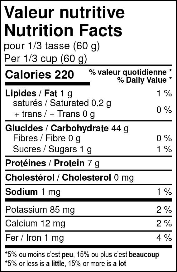 Valeurs nutritives - Farine à pizza Tipo ʺ00ʺ biologique
