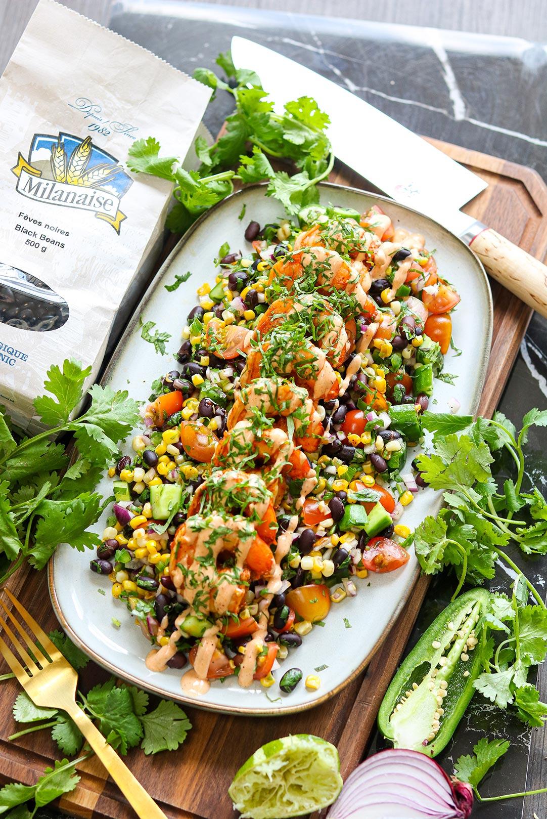 Salade d'haricots noirs et crevettes