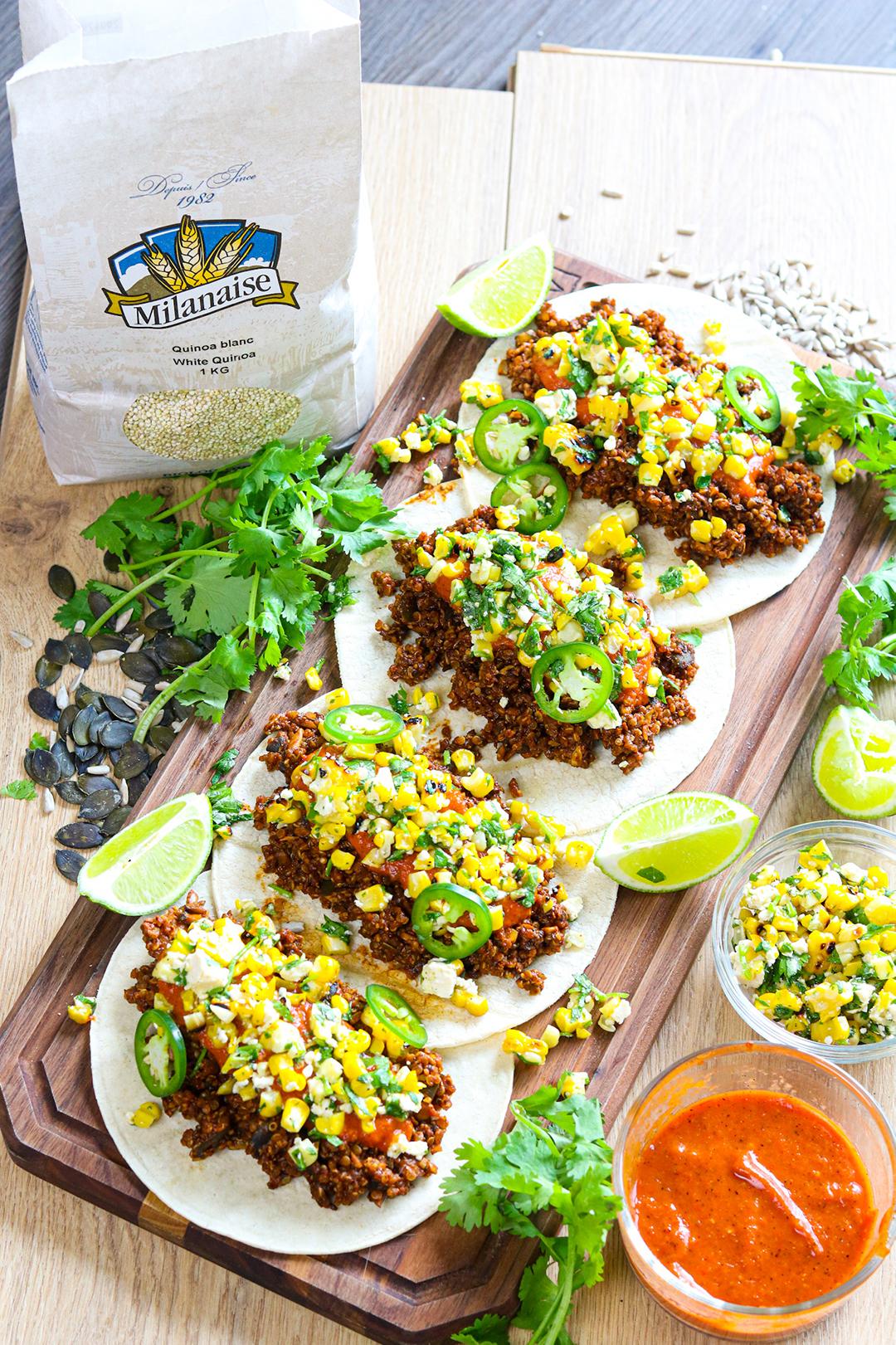 Tacos végétariens au quinoa